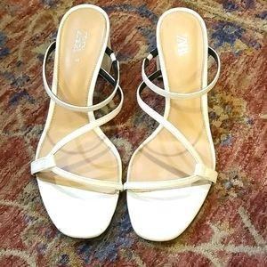 Zara strappy black heel sandal white 39